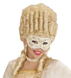 Bílá krajková plesová škraboška