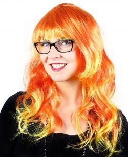 paruka oranžová s dlouhými vlasy pro dospělé