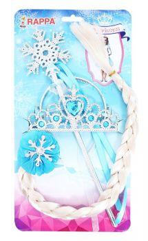 sada zimní království s hůlkou, čelenkou a copem
