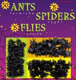 Balíček černých plastových pavoučků, much a mravenců