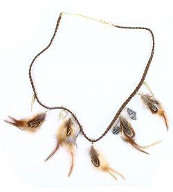 náhrdelník indiánský s bažantím peřím