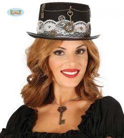 Zdobený dámský černý klobouk STEAMPUNK